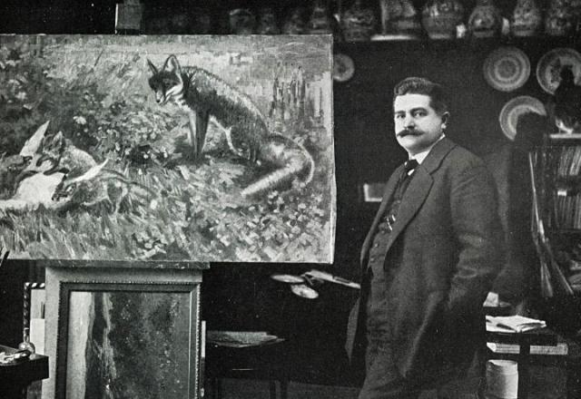 Станислав Лолек с картиной «Семья лис»